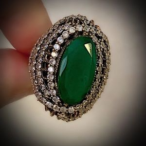 Size 9 EMERALD FINE RING Solid 925 Sterling/Gold